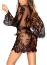 Women Lingerie Sleep Dress Sheer Mesh Lace Trim  Mini Dress Sleepwear G-String