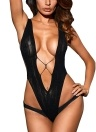 Женщины Sexy Lingerie Sultry V Shape Sheer Lace Bodysuit Erotic Teddy One Piece
