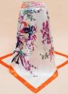 Manera de las mujeres de la bufanda de la impresión floral del diseño cuadrado del cruzado fino chal pañuelo rojo / naranja / azul oscuro satinado