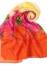 Nueva manera de las mujeres de la gasa de la bufanda colorida del estampado de flores de impresión Gradiente largo pashmina bufanda elegante delgada
