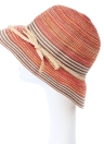 Contrast Stripe Wide Brim Belt Sun Hat