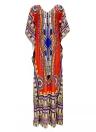 Donne di etnia Cover Up Plus Size scollo a V maxi Boho Hipppie Dashiki Bikini Beach Vestito stampato caftano