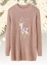 Christmas Women Knitted Pullovers  Long Sleeve Reindeer Embroidered Sweater
