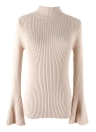 Fashion Winter Women Ribbed  Flare Sleeves Stand Collar Women's Sweater