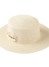 Summer Beach Solid Color Wide Brim Bead Straw Hat