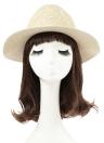 Moda unisex sombrero para el sol sombrero de paja de ala ancha sólido de correa del metal del verano de Sunbonnet Playa Panamá sombrero de Brown / Beige