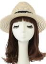 Nueva manera de las mujeres del sombrero de paja de ala ancha de ajuste de la cinta de Sun del verano de la playa del casquillo del sombrero de Panamá Beige