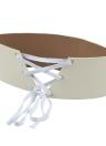 New Moda feminina PU Vintage cintura correia de couro de auto-tie Cintura Da cintura Strap Branco / Rosa
