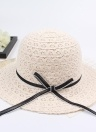 Summer Fashion Women Paglia Floppy Hat Wide Brim Bowknot Pieghevole Sun Beach Holiday Cap casual