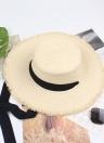 Sombrero de paja ancha del vendaje del borde ancho del vendaje de las mujeres de la moda del verano plegable Casquillo ocasional de la playa del sol de la playa
