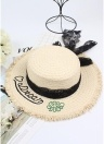 Fashion Women Letter Embroidery Straw Hat Lace Bowknot Wide Brim Travelling Beach Fisherman Bonnie Chapeau