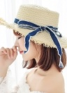 Women Straw Hat Bowknot Raw Fringe Wide Large Brim Flat Casual Sun Summer Boater Beach Cap