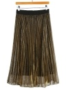 Pleated Elastic High Waist Metallic Silver Skirt Thick Breathble