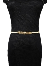 Fashion Gold Hollow Out Metal Charm Stretchy Women's Slim Waist Belt