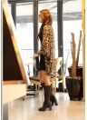 Leopard Print Batwing Long Sleeve Blouse
