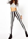 Moda sexy Leggings nero striscia verticale bianco Zebra elastico pantaloni