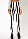 Sexy Mode Damen Leggings schwarz weiße vertikale Streifen Zebra Strumpfhose dehnbar Hosen