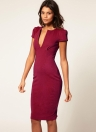 Fashion sexy femmes robe plongeante v-Neck Pocket Slim Bodycon Midi robe OL travail parti Bourgogne au crayon