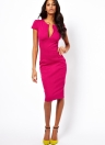Fashion sexy femmes robe plongeante v-Neck Pocket Slim Bodycon Midi robe OL travail parti au crayon Rose