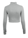 Femme Casual chic T-shirt col Polo manches longues Crop Top Blouse Tee T Shirt gris