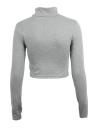 Стильные повседневные женщин Футболка поло шеи длинный рукав культур Топ блузка Tee T рубашка серый
