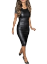 Mulheres sexy do plutônio vestem couro Look manga curta rodada pescoço Bodycon Midi festa vestido preto