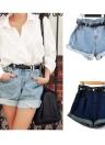 Mujeres Vintage Shorts Denim Jeans cintura alta balanceo-para arriba los puños enormes pantalones cortos azul claro