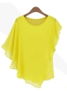 Women Chiffon Tops Ruffled Batwing Sleeve Asymmetric T Shirt