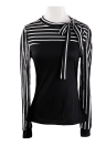 Korean Bow Polo Neck Puff Sleeve Stripe Splice Slim T-shirt