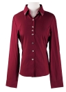 Anself Neue Mode Frauen OL Shirt Langarm Turn-Down-Kragen Button Bluse Tops Burgund/weiß