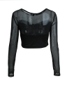 Women Mesh Cutout O-Neck Tops T-Shirt Black