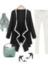 Nova moda mulheres Outerwear assimétrica contraste casaco manga longa capa Cardigan no máximo