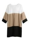 Fashion Color Block 1/2 Sleeve Plus Size Chiffon Shift Dress