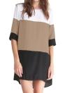 Nouveau mode femmes robe en mousseline de soie couleur bloc 1/2 manchon Plus taille lâche Mini robe