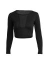 L'Europe sexy femmes T-Shirt maille pure Patchwork autour de cou manches longues Slim Crop Top Black