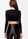 Sexy Europa Frauen T-Shirt schiere Mesh Patchwork Runde Hals Langarm Slim Crop Top Black