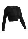 Women T-Shirt Sheer Mesh Patchwork Slim Crop Top Black