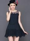 Sweet Crochet Patchwork Mesh Round Neck Sleeveless Slim Mini Lace Dress