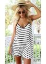 Mode femmes robe d'été contraste rayé col v Sexy Backless Spaghetti Strap Beach Dress Black
