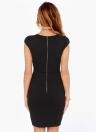 Moda mulheres lápis vestido mergulho V pescoço Zipper traseiro curto Cap manga magro OL trabalho vestido de festa preto