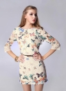Elegant Colorful Butterfly Print Half Sleeve Mini Lace Dress