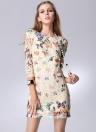 Nouvelle Europe femmes robe papillon coloré impression Half Sleeve élégante robe Mini blanc/Beige