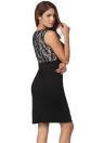 Nouveau mode femmes robe dentelle florale Patchwork couleur bloc crayon élégant sans manches robe noir