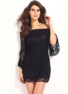 Sexy Floral Lace Off The Shoulder Flare Sleeve Slash Neck Mini Dress