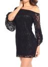 Neue Mode Frauen kleiden floralen Spitze aus der Schulter Flare Sleeve Slash Hals Sexy Mini One-Piece weiß/schwarz