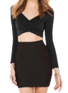 Women Crop Top Plunge V Neck Cross Front Clubwear