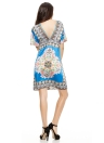 Retro Bohemian Paisley Print V-Neck Short Sleeve Beach Wear Summer Dress