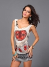 Retro Flower Feather Chain Print Sexy Sleeveless Club Mini Slim Dress