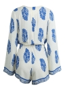 Moda mujer mono Sexy profunda V cuello impresión patrón lazo manga larga pantalones cortos mamelucos pijama blanco