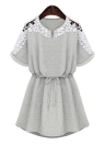 Women Floral Lace Short Sleeve Drawstring Waist Mini Dress